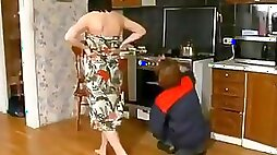 Mature gets pussy nailed hard in her own kitchen