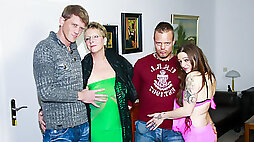 AMATEUR Swinger German Foursome With Dirty Granny