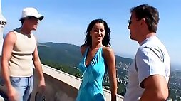 Cute Angel Dark gets threesomed at the Budapest vacation