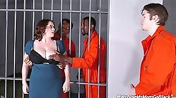 Stunning Michigan busty attorney Maggie Green gets finger fucked by some prisoners