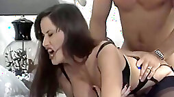 Extremely attractive brunette in gorgeous lingerie loves doggy style
