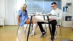 Nerd with sexy glasses bangs his hot blonde nurse Lola in red lingerie