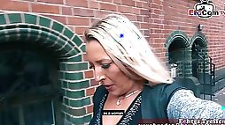 German blonde milf have a public pick up blind date for first time lesbian sex