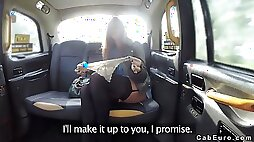 Hot ass babe in lingerie bangs in fake cab