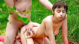 Short haired girl get seduced with huge boobs is having sex in the forest