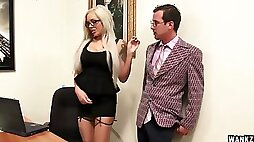Tattooed ladyboss Nina Elle is checking out her new nerdy employee